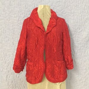 Chico's Sz Sm/4 Red Crinkle Open Front Jacket
